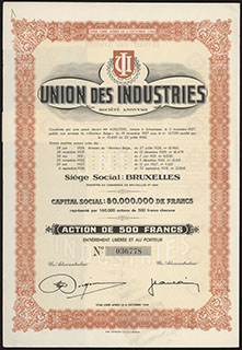 Бельгия. АО «Union des industries». Акция. 500 франков.