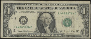 США. Federal reserve note. 1 доллар. 1969 г.