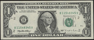 США. Federal reserve note. 1 доллар. 1995 г.