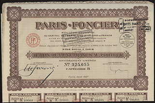 Франция. АО «Paris-fonsier». Акция. 100 франков. 1927 г.
