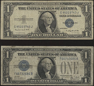 США. Smith/Dillon, Woods/Mills. Silver certificate. 1 доллар. 1928-1935 гг. Лот из 2 шт.