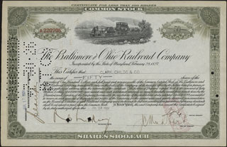 США. The Baltimore and Ohio railroad company. 50 паев. 1926 г.