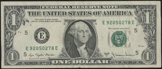 США. Federal reserve note. 1 доллар. 1977 г.